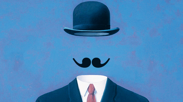 Magritte-The Pilgrim; comma mustache
