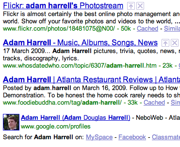 Google Profiles Screen Grab