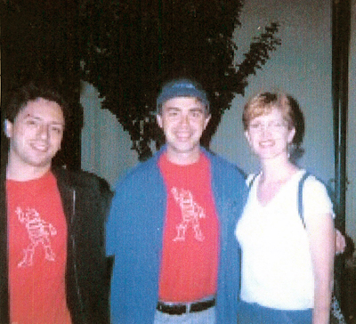 Stacy Sutton Williams with Google co-founders Larry Page and Sergey Brin.